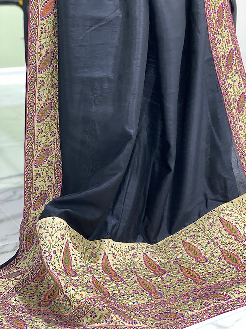 Black raw silk with Kashmiri border