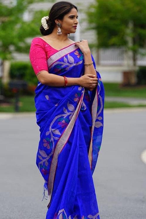 Blue Matka Jamdani with Resham pallu