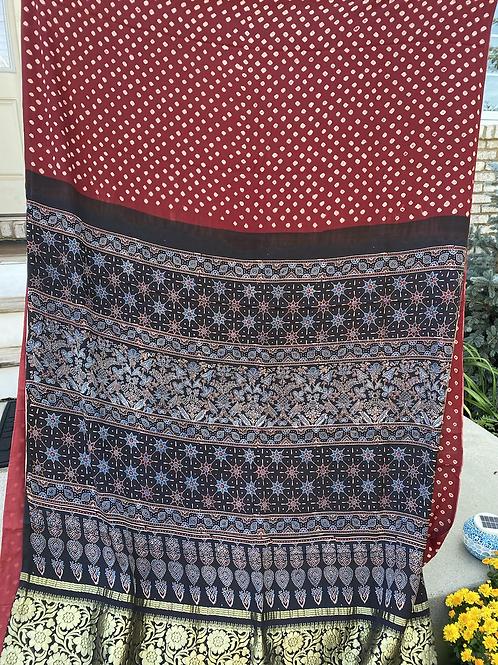 Pure silk Bandhni with Ajrakh