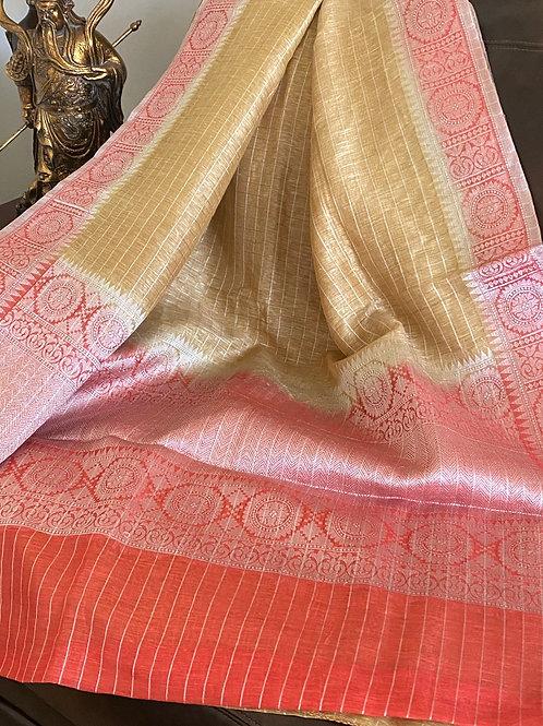 Jute saree with Benarasi border