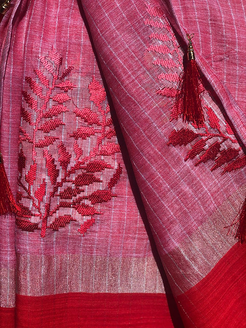 Red embroidered linen.