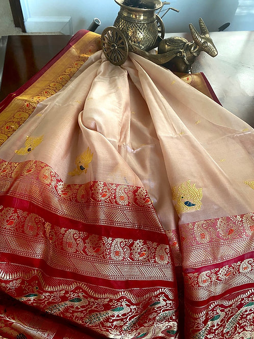 Silk cotton cream n red kanjivaram
