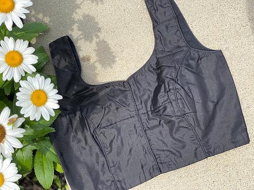Black pure silk U back cut
