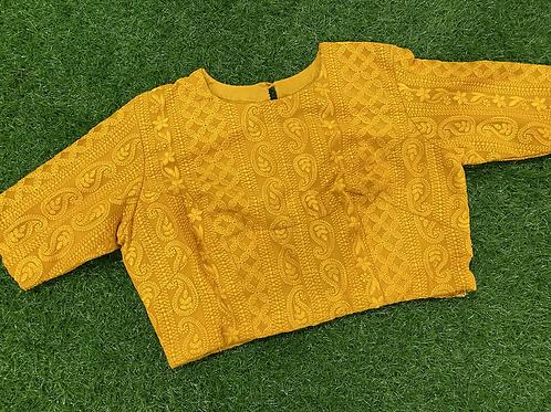 Yellow chiffon chikankari