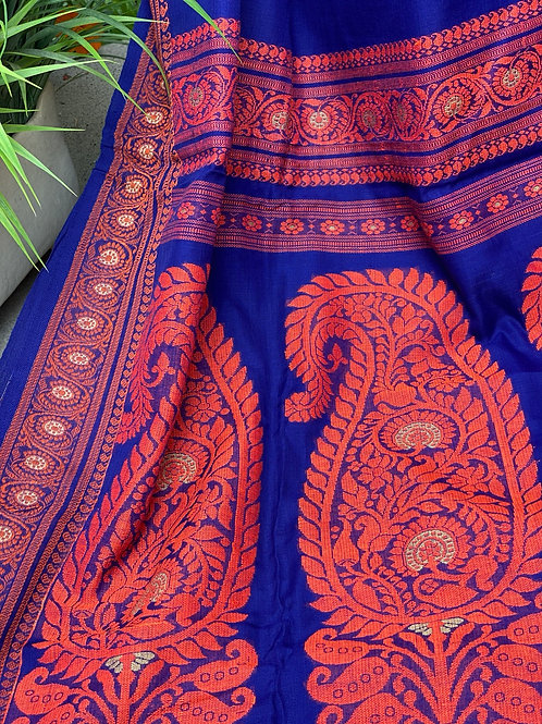 Blue with Orange Border  Khadi Baluchori
