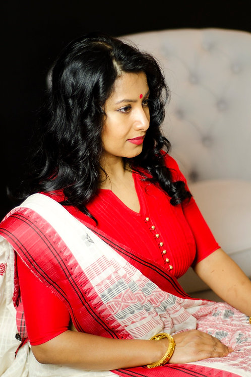 Silk Cotton Red Blouse
