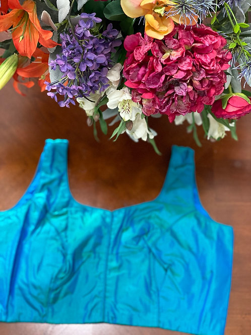 Turquoise blue dual tone silk