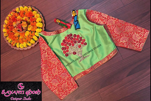 Embroidered  Green Red Brocade Blouse.
