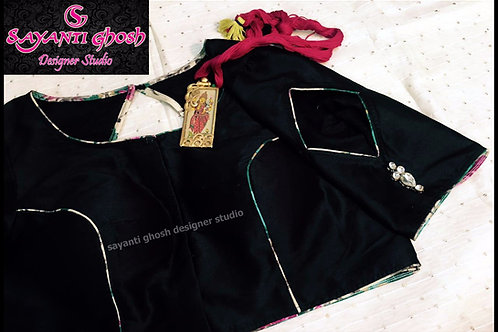 Black silk blouse with Barfi Cut On sleeve
