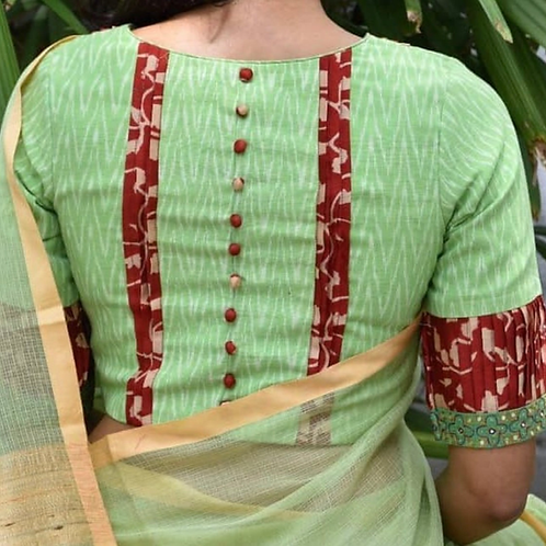 Lime green with red Kalamkari border.
