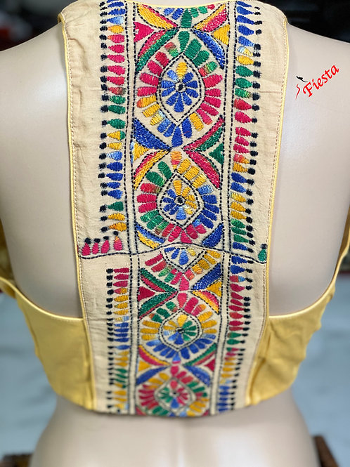 Silk cotton light yellow with multi color halter back katha work