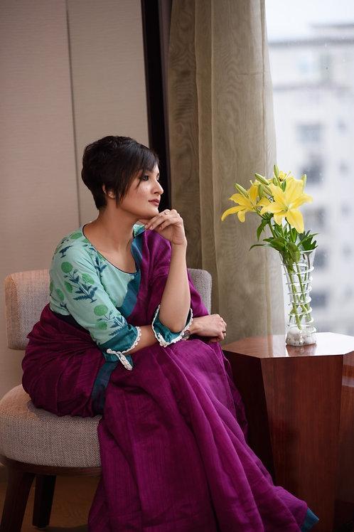 Purple Matka silk handloom