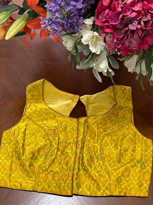 Dijon yellow ikkat with oval backcut