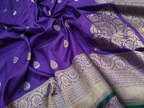 Pure silk Benarasi light purple