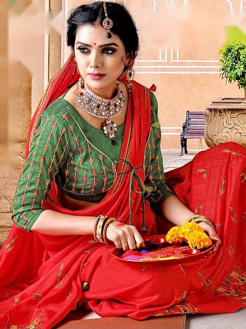 Red Emboidered Spun silk