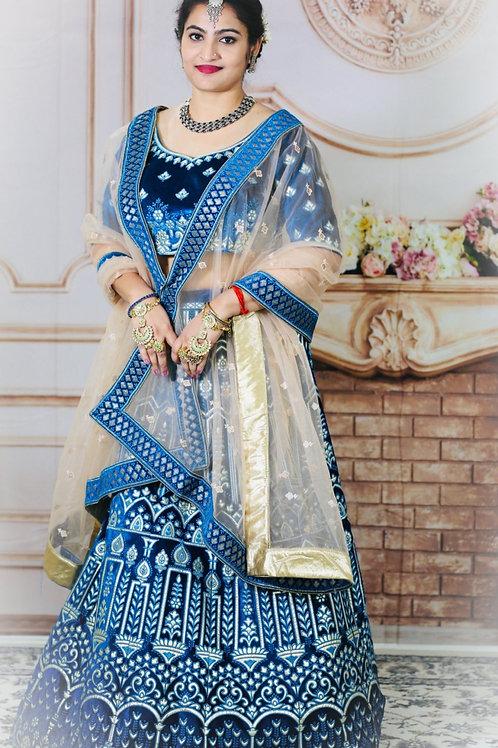 Charulata - Royal Blue Heavy Embroidered Lehenga Choli