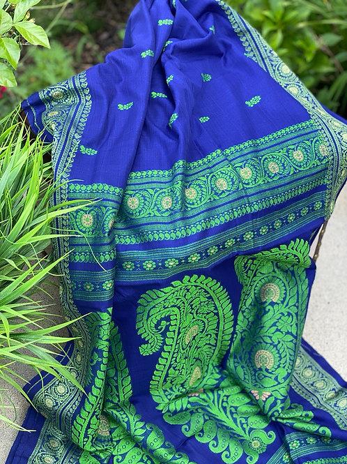 Blue with green Khadi Baluchori