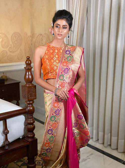 Mellow  color Jaccard silk saree