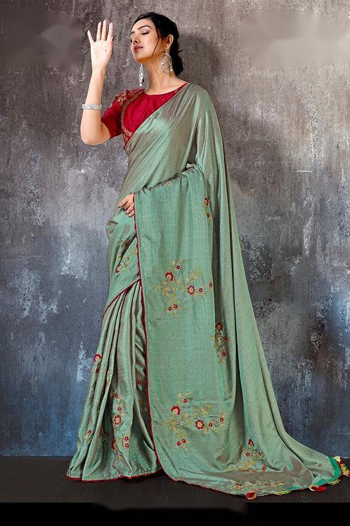 Emboidered Spun silk