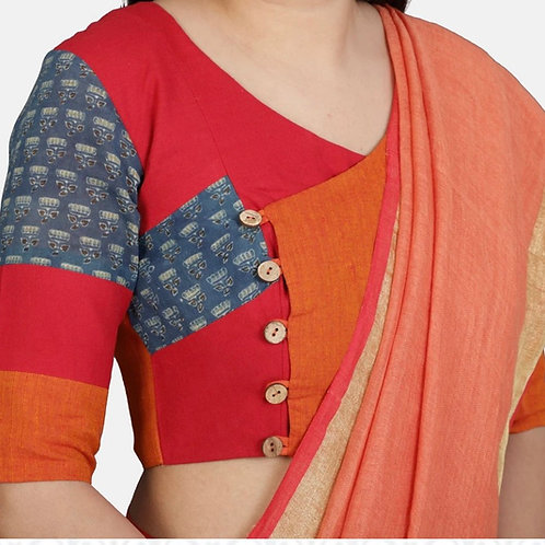 Orange and indigo block printed blouse in Angrakha style.