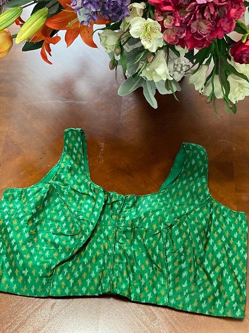 Green Ikkat V neck