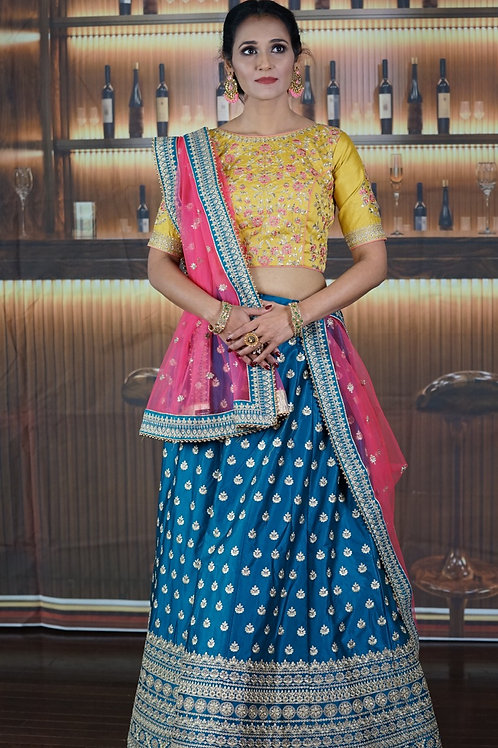 Chulbul - Blue Satin Silk Bridal Wear Embroidery Work Lehenga Choli.
