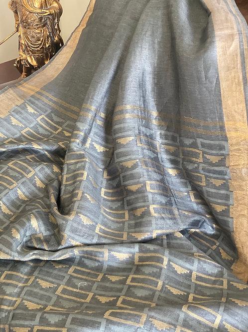 Grey  silk linen