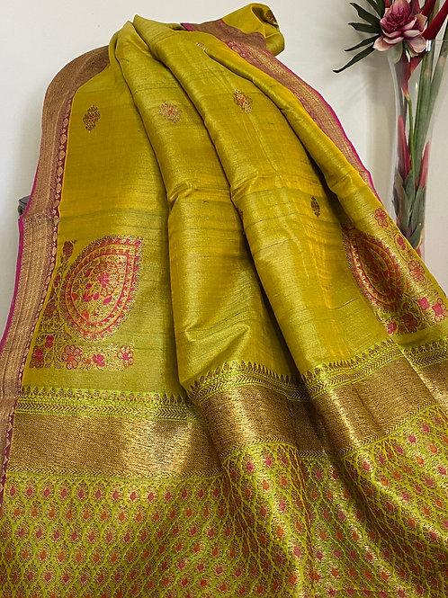 Pista green n yellow shaded Benarasi
