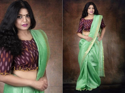 Pista green  Linen Saree,