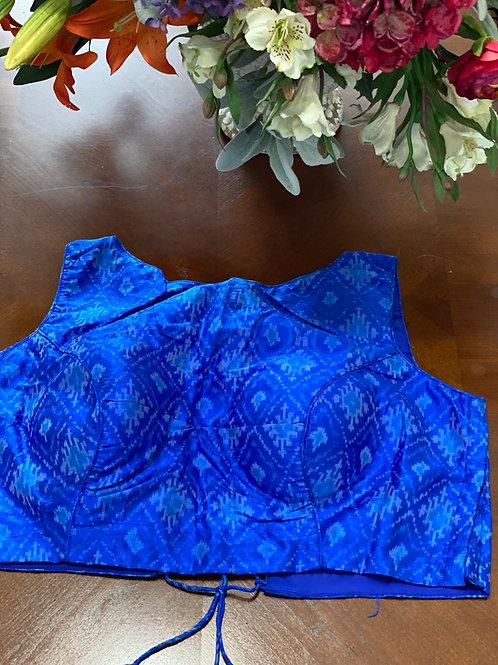 Cobalt Blue Ikkat with Zigzag Dori