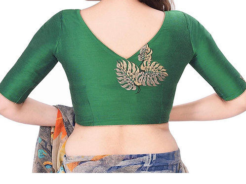 Cotton Tussar Embroidered Blouse (Green)