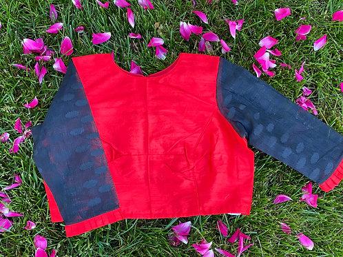 Red Rawsilk  with Black Jamdani sleeves