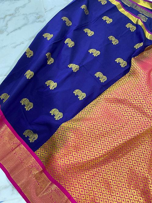 Blue Kanjivaram with pink Border