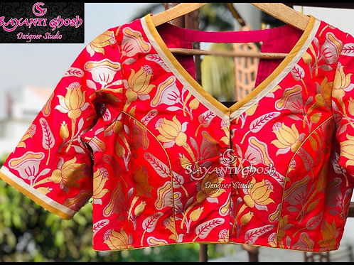 Pink Brocade blouse with V Cut Back.