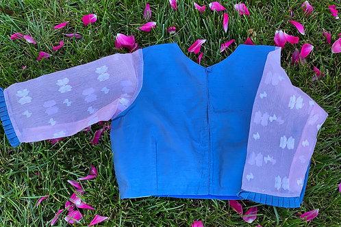 Steel Blue with Light Pink  Jamdani sleeves