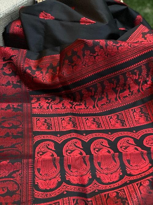 Black n Red Baluchori silk