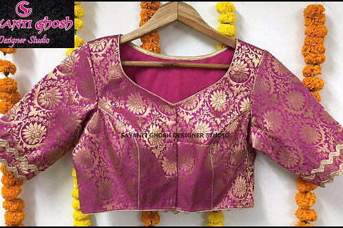 Pink Brocade Blouse.