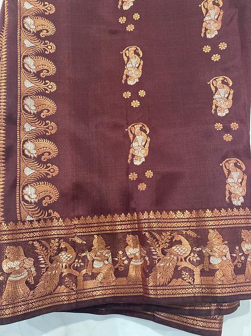 Copper Zari Chocolate Swarnachori silk