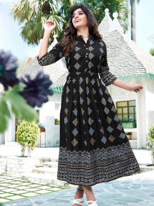 CopFoil Printed Latest Designer Rayon Casual Wear Long Gowns