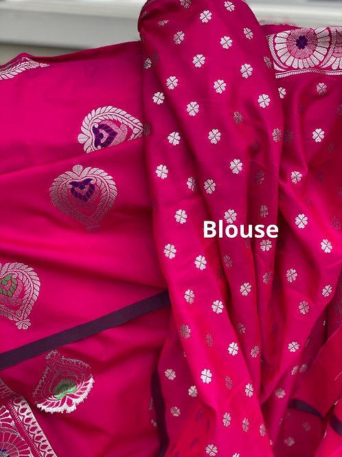Pink with Benerasi pallu