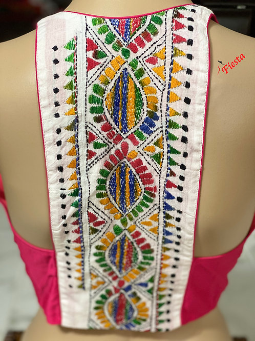 Silk cotton pink with white multi color halter back katha work