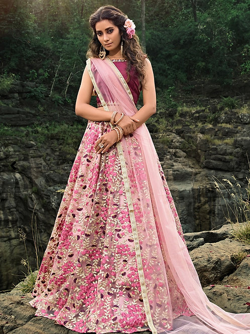 Sanjana - Magenta Pink Embroiderd Net Lehenga Choli