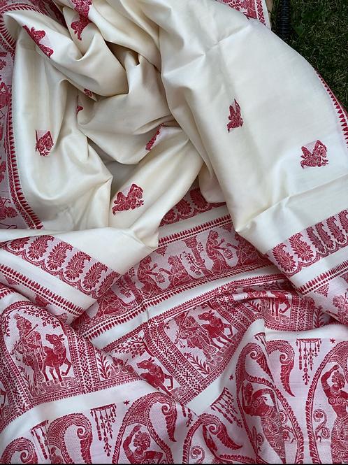 White red Baluchori silk