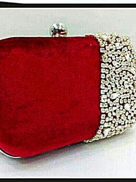 Stone studded Red velvet clutch
