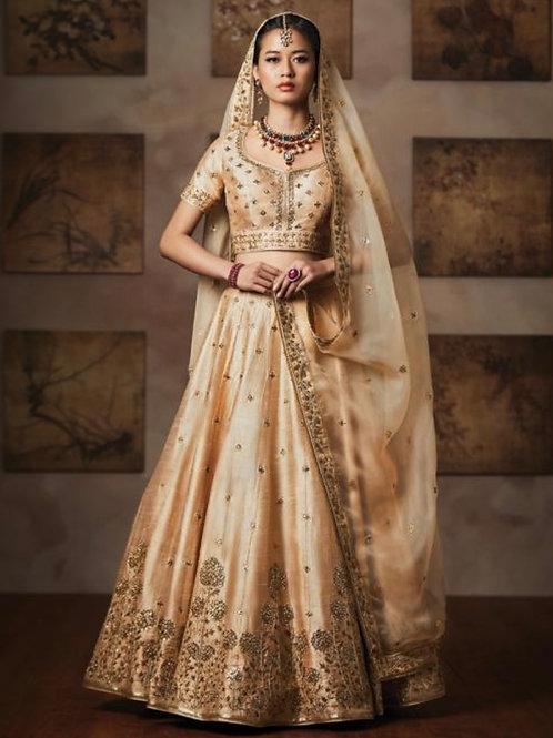 Divya — Beige Mulberry Silk Bridal Wear Heavy Embroidery Work Lehenga Choli