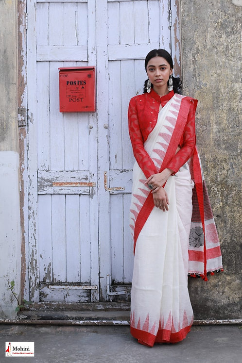 Blouse -  Red Jamdani jacket.