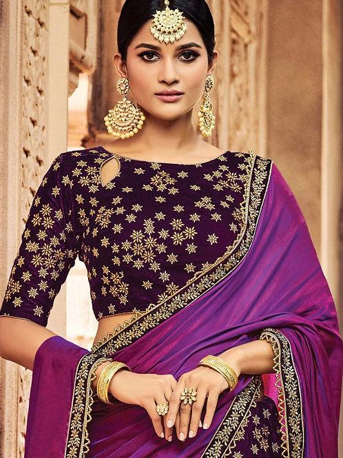 Tanima - Purple Jacquard Silk & Velvet Lehenga Saree