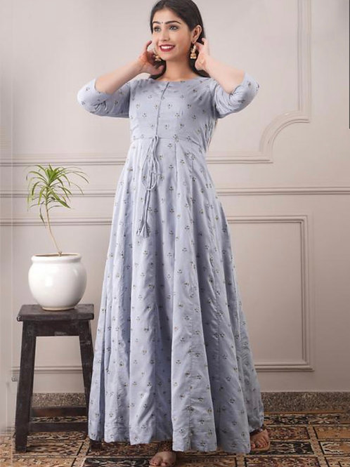 Light Grey Chanderi Casual Wear Foil Printed Gown