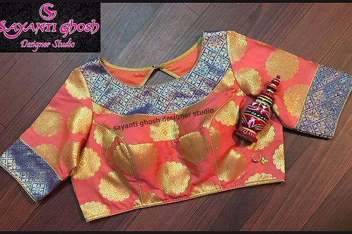 Peach & Blue Brocade Blouse.
