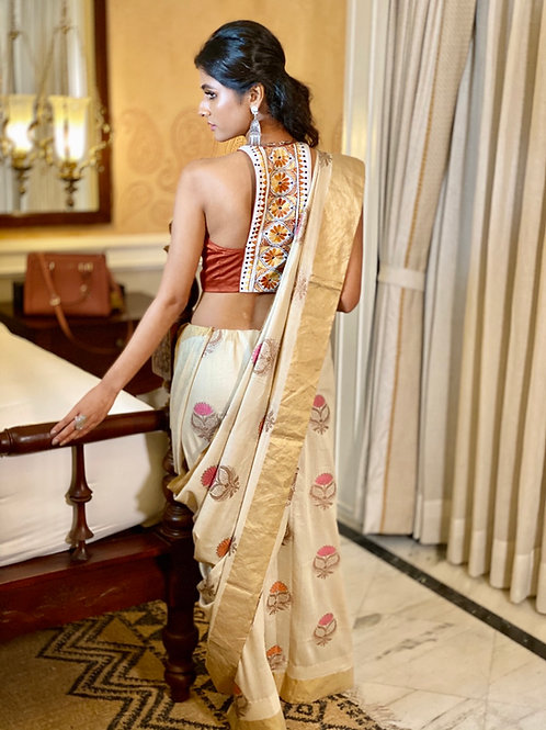 Khadi Beige with Gold Border